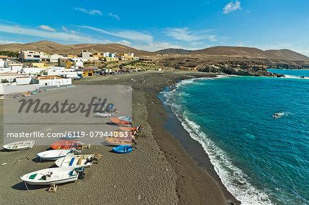 Small west coast black sand beach resort, popular for its caves and cliff walk, Ajuy, Pajara, Fuerteventura, Canary Islands, Spain, Atlantic, Europe