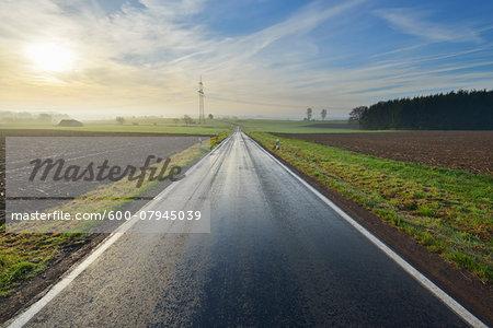 Country Road in Morning with Sun, Freiensteinau, Vogelsbergkreis, Hesse, Germany