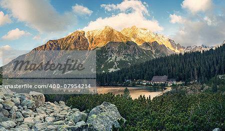 Panoramic view of Mountain lake in National Park High Tatras. Popradske lake (pleso), Slovakia, Eastern Europe