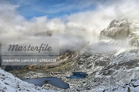 Beautiful winter landscape of Tatra Mountains. Slovakia, Eastern Europe. This Velke Zabie lakes located near from Rysy summit.