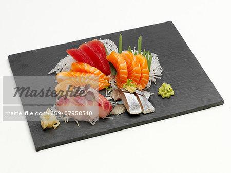 Sashimi platter with ginger and wasabi