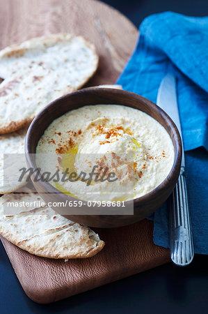 Hummus with pita bread