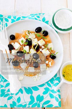 Refreshing grapefruit and feta salad