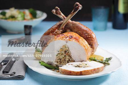 Stuffed turkey, sliced