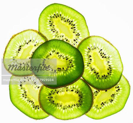 Back lit slices of kiwi