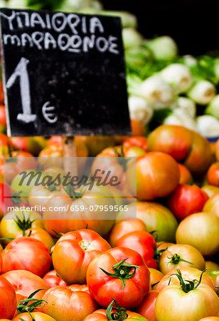Tomatoes at a market