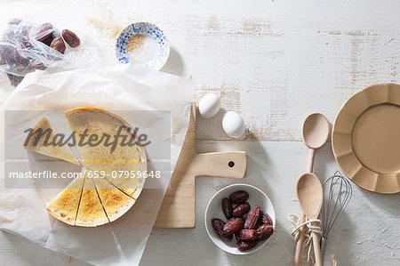 Crème brûlée tart with dates