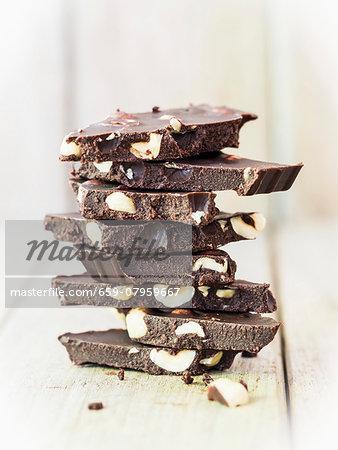 Pieces of hazelnut chocolate