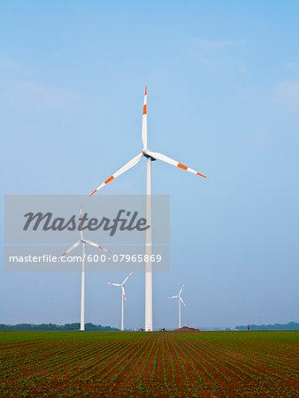 Wind Turbines in Countryside, North Rhine-Westphalia, Germany