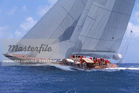 Endeavour Sails to Windward off Coast of Antigua during 2001 Antigua Classic Yacht Regatta