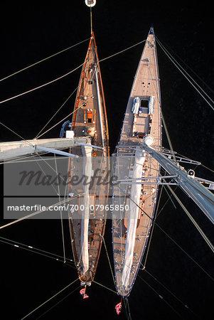 J-Class Yachts Endeavour and Shamrock V as seen from Masthead (130 feet up), Newport, Rhode Island, USA