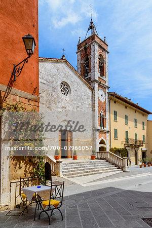 Church of San Francesco, Piazza della Liberta, San Quirico d'Orcia, Val d'Orcia, Siena, Tuscany, Italy