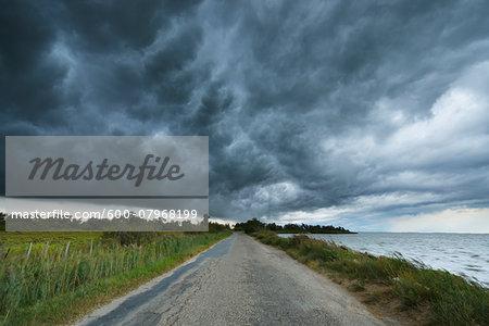 Thunder Storm over Country Road, Etang de Vaccares, Camargue, Bouches-du-Rhone, Provence-Alpes-Cote d'Azur, France