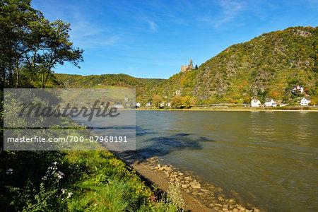 River Rhine, Castle Maus, Wellmich, Sankt Goarshausen, Loreley, Rhein-Lahn-Kreis, Rhineland-Palatinate, Germany