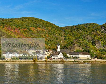 River Rhine with Pilgrimage Monastery, Kamp-Bornhofen, Loreley, Rhein-Lahn-Kreis, Rhineland-Palatinate, Germany