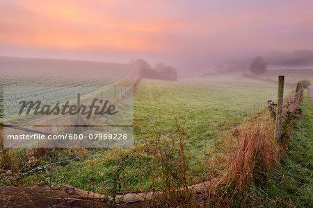 Countryside with Morning Mist at Sunrise, Nastatten, Rhein-Lahn-Kreis, Rhineland-Palatinate, Germany