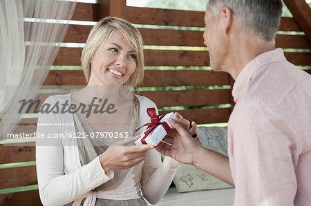 Woman man Valentine's day present happy loving