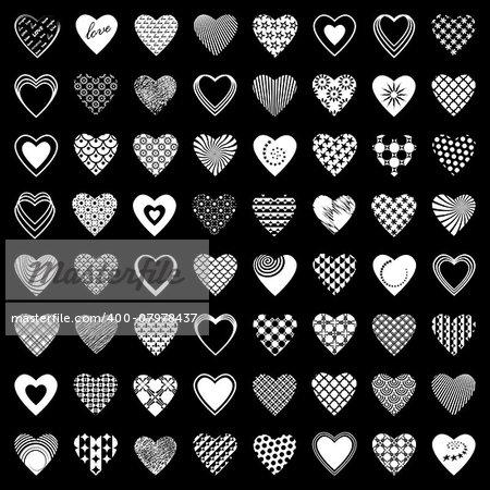 Heart icons set. 64 design elements. Vector art.