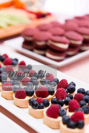 Berry Tartlets on Dessert Table at Wedding Reception