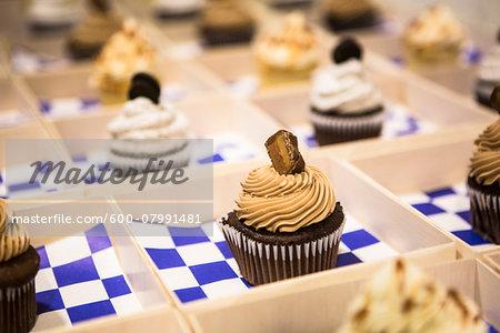 Close-up of Chocolate Cupcakes in Individual Boxes at Bar Mitzvah