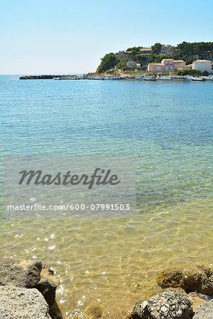 Sea Bay in Summer, Port des Tamaris, La Couronne, Martigues, Cote Bleue, Bouches-du-Rhone, Provence-Alpes-Cote d'Azur, France