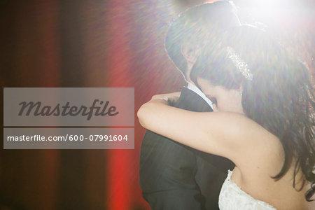 Close-up of Bride and Groom having First Dance at Wedding Reception, Hamilton, Ontario, Canada