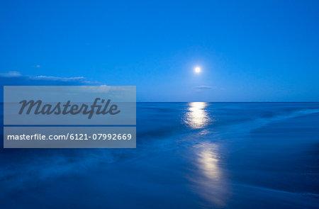 Moon ocean sea waves beach night reflection