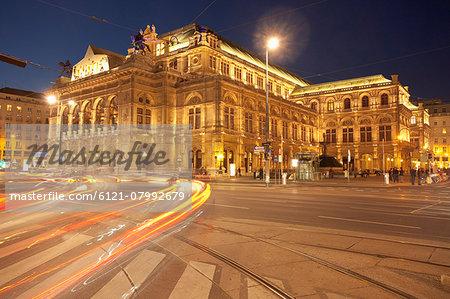 Traffic night movement motion Vienna opera house