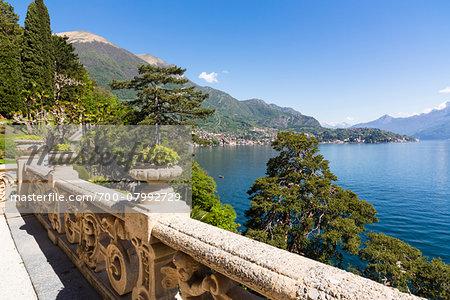 Stone railing on balcony and scenic view, Villa del Balbianello, Lenno, Lombardy, Italy