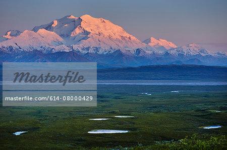 View of snow capped Mount McKinley at sunset, Denali National Park, Alaska, USA