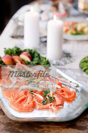 Smoked salmon on serving dish