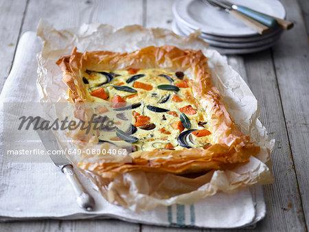 Butternut squash filo pastry tart