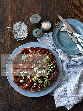 Carrot tarte tatin on a plate