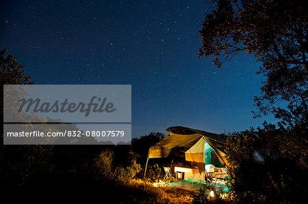 Safari tent under a starry sky at night, Ol Pejeta Conservancy; Kenya
