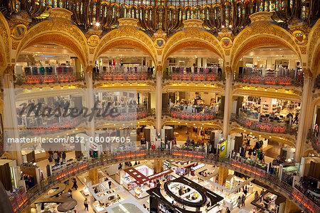 France, Boulevard Haussmann; Paris, Galeries Lafayette department store