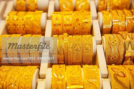 Gold Bangles For Sale In Gold Souk; Dubai, United Arab Emirates