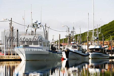 Commercial Fishing Boats Moored In The King Cove Harbor At Sunrise, King Cove, Alaska Peninsula, Southwest Alaska, Summer.