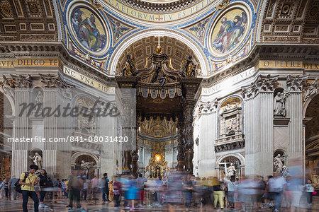 Inside St. Peter's Basilica. Vatican City, UNESCO World Heritage Site, Rome, Lazio, Italy, Europe