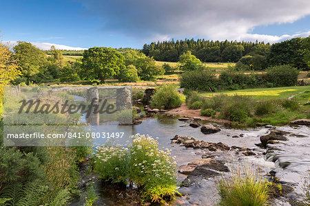 Ancient clapper bridge at Postbridge, Dartmoor National Park, Devon, England, United Kingdom, Europe