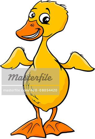 Cartoon Illustration of Cute Duckling Baby Bird Animal