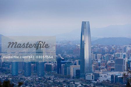 View over the Gran Torre Santiago from Cerro San Cristobal, Santiago, Chile, South America