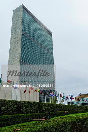 United Nations Headquarters, The United Nations Secretariat Building, Manhattan, New York City, New York, United States of America, North America