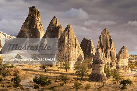 Unusual rock formations in the Rose Valley, Cappadocia, Anatolia, Turkey, Asia Minor, Eurasia