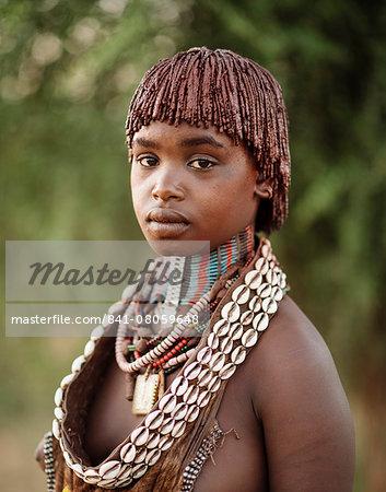 Portrait of Warka, Hamar Tribe, Omo Valley, Ethiopia, Africa