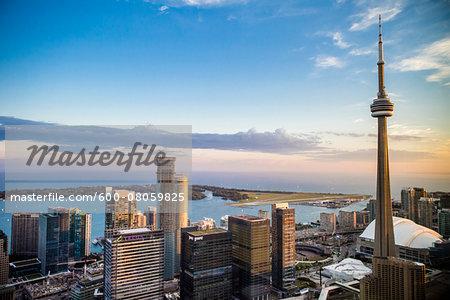 Skyline with CN Tower and Lake Ontario, Toronto, Ontario, Canada