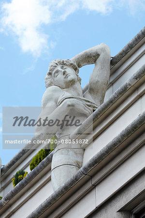 Architectural Detail of Sculptures at top of Building, Paris, France