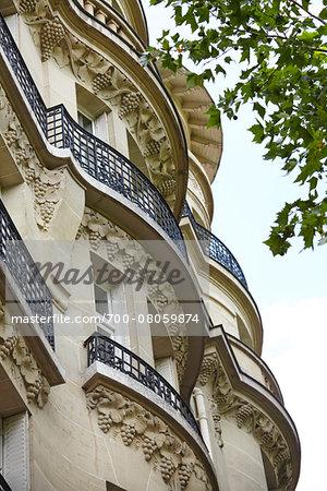 Wrought Iron Balconies on Building, Paris, France