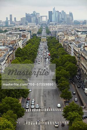 Champ Elysees from Arc de Triomphe, Paris, France