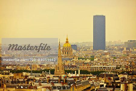 View from top of Arc de Triomphe, Paris, France