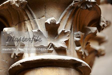 Architectural Detail of Pillar at Sainte-Chapelle, Ile de la Cite, Paris, France